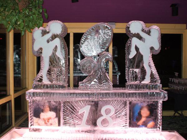 18th Birthday Ice Sculpture with Portraits